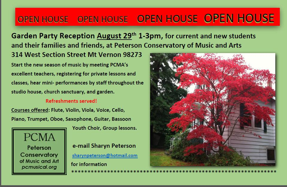 Conservatory Open House Aug 29